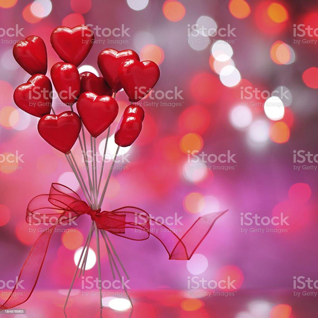 Red Hearts on illuminated background royalty-free stock photo