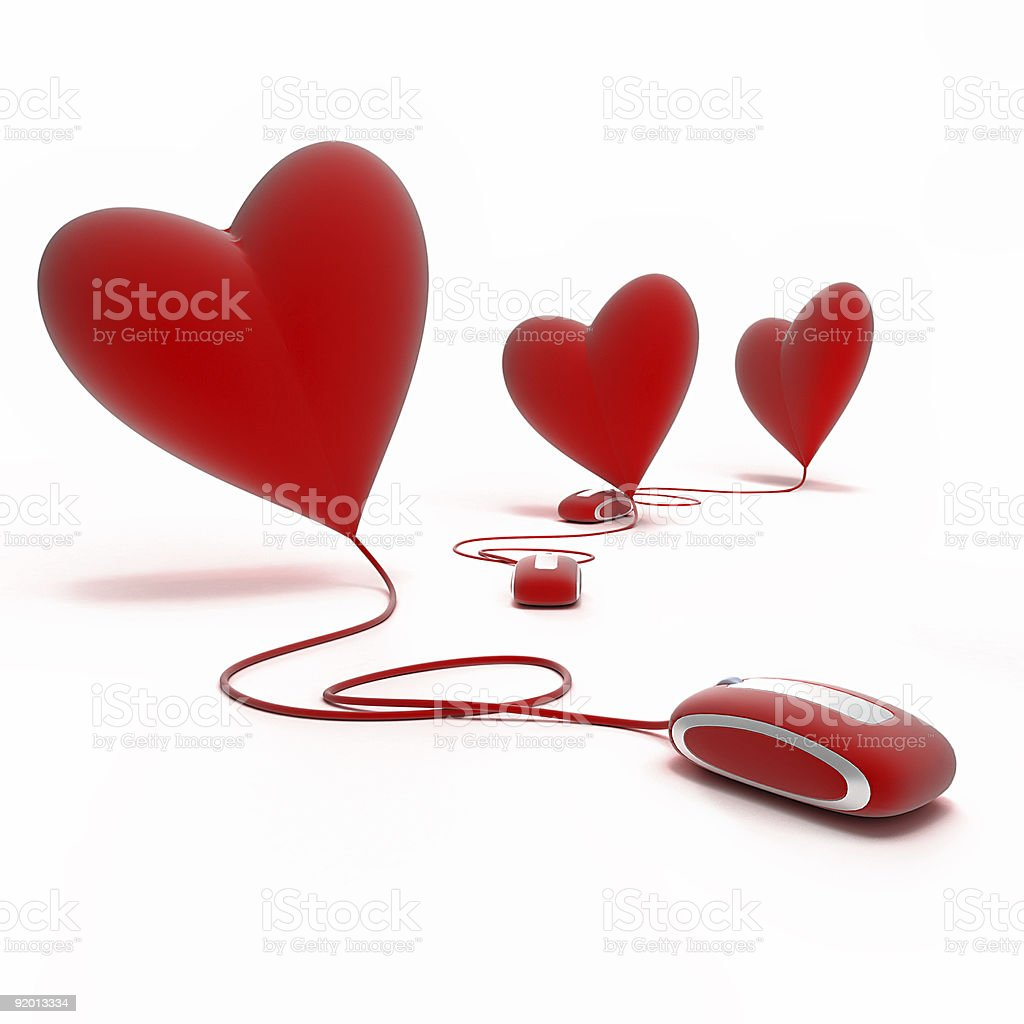 red hearts on line royalty-free stock photo