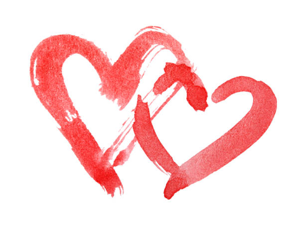 Red hearts painted with watercolor paint stock photo