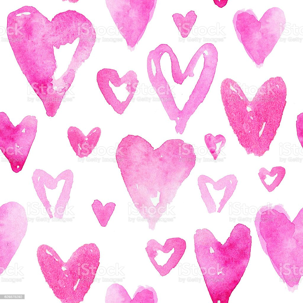 Red hearts pattern. Happy Valentines day background. – Foto