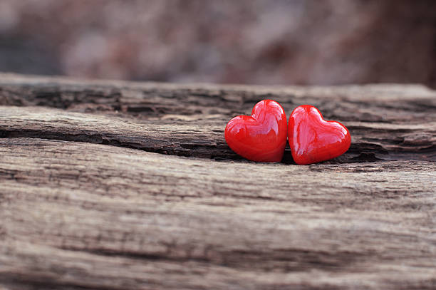 2 red hearts stock photo