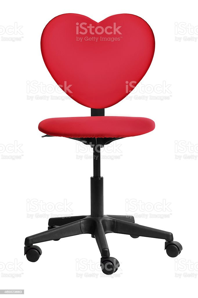 red heart-shaped office chair stock photo