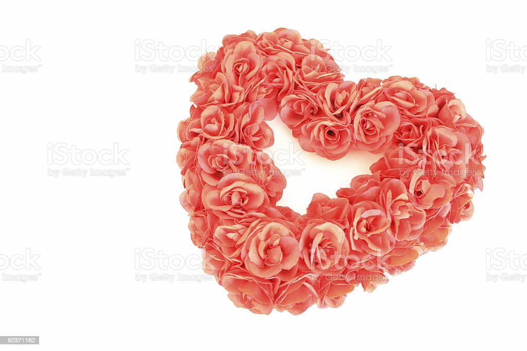 Red Heart-Shaped Valentine's Wreath royalty-free stock photo