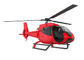Red Helicopter isolated on white background. 3D render
