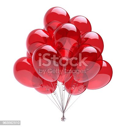 istock Red helium balloons bunch birthday party decoration classic 963562510