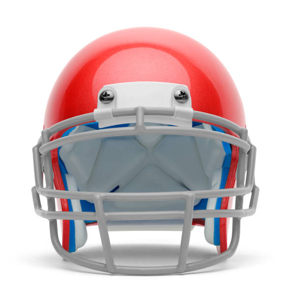 Red Helmet Red Football Helmet Front View Isolated on a White Background. american football uniform stock pictures, royalty-free photos & images