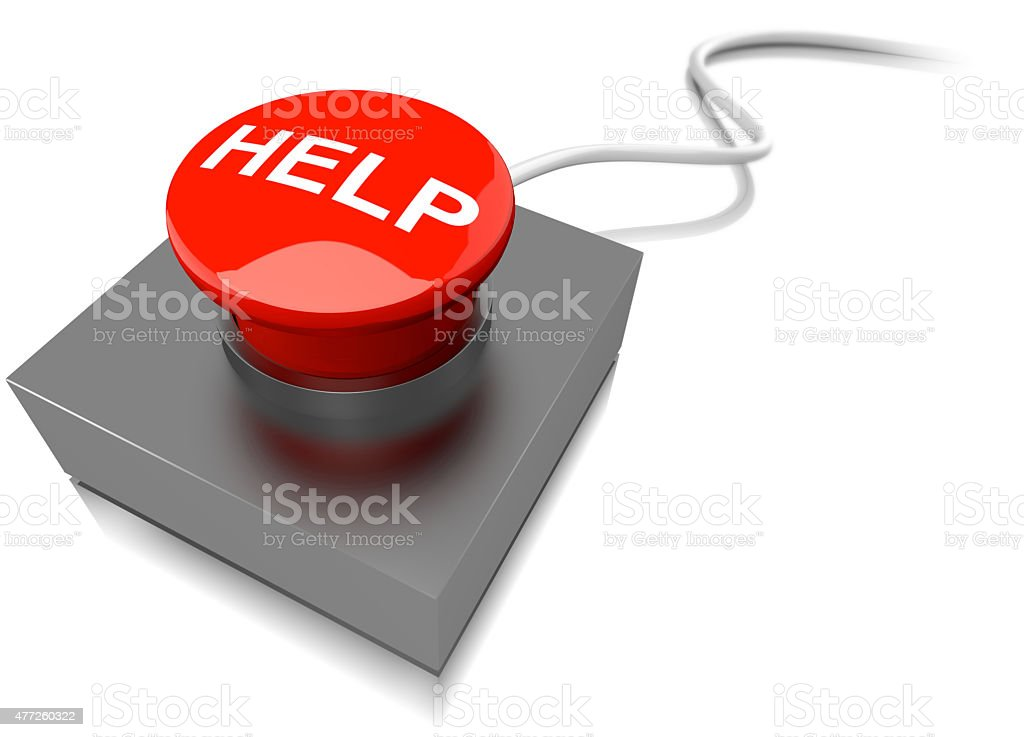 Red help button buzzer stock photo