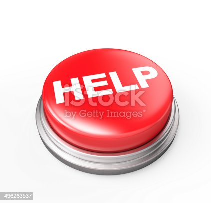 Red Help Button , Support Concept , Clipping Path , 3d render