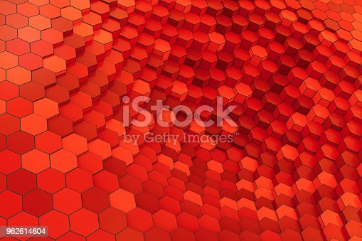 istock Red hexagon structure background 962614604