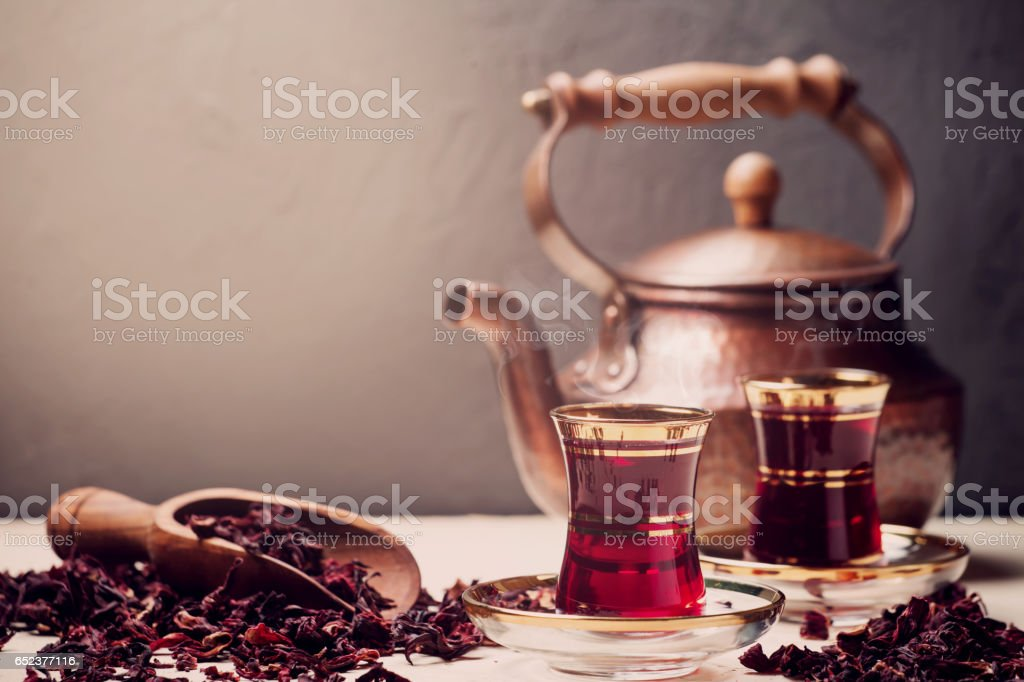 Red Hibiscus tea in turkish style stock photo