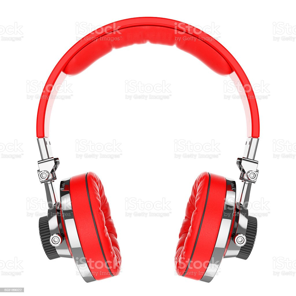 Red Hi-Fi professional headphones stock photo