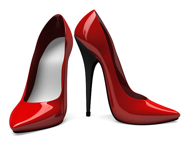 3D Red High Heels Shoes - Front and Side View stock photo