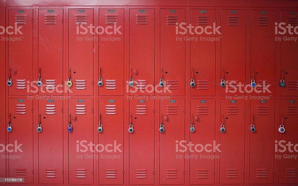 red high school lockers stock photo