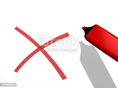 istock red highlighter and x rejection sign on white background 474852610
