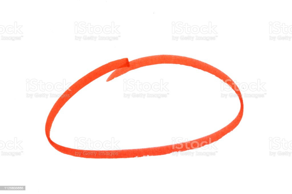 red highlighter circle on white background