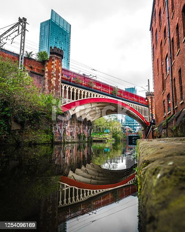 The famous red bridge in Castlefield, Manchester