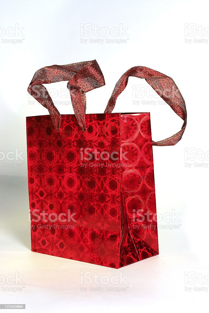 Red Holographic Gift Bag royalty-free stock photo