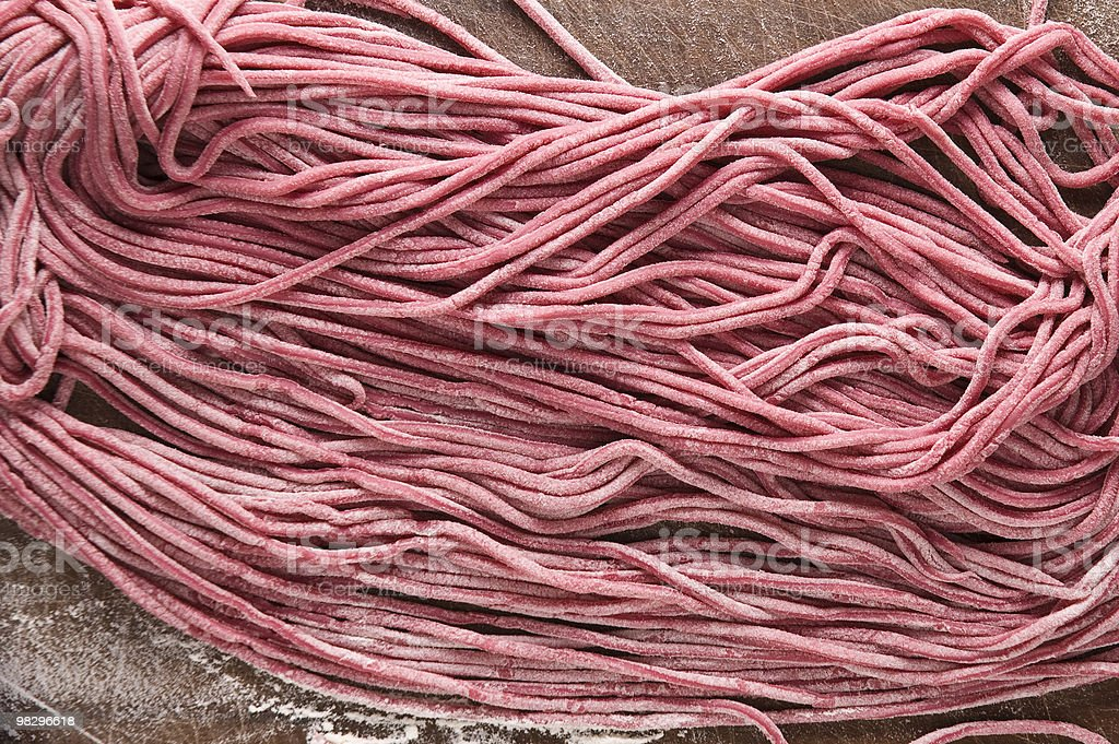 Red homemade fresh spaghettoni royalty-free stock photo