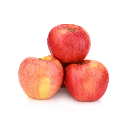 Red honey apple on white background