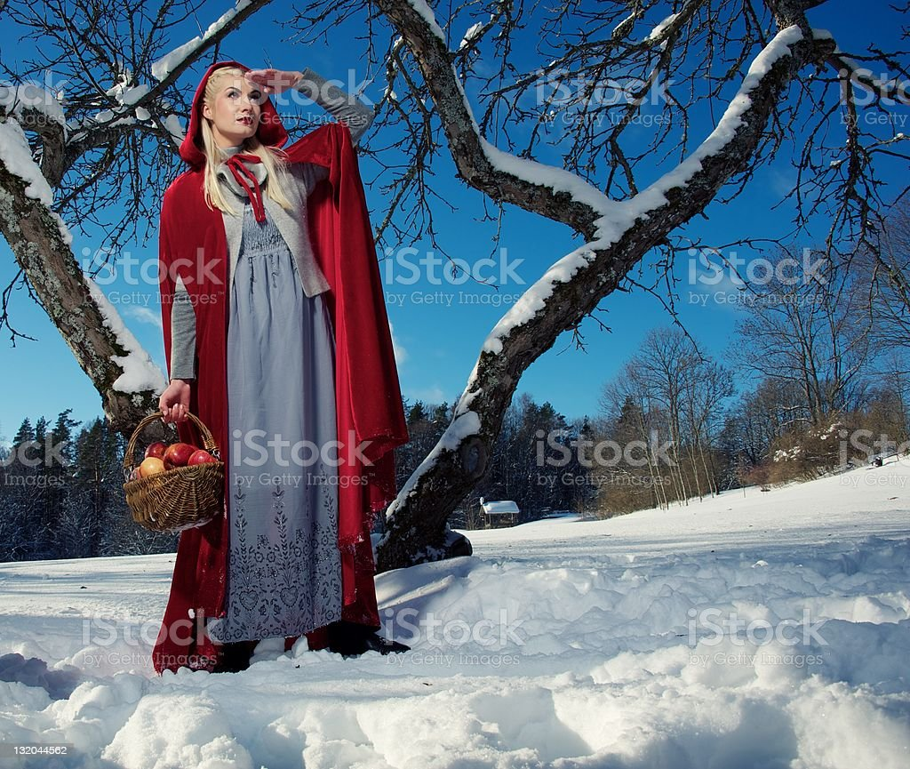 Red Hood with a basket of apples royalty-free stock photo