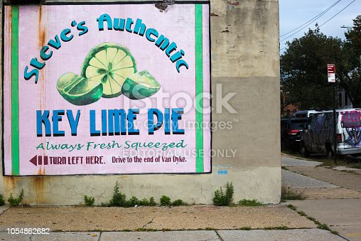654490824 istock photo Red Hook, Brooklyn: Ad for Steve's Authentic Key Lime Pies 1054862682