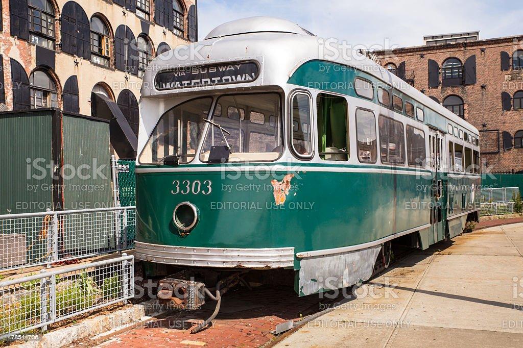 Red Hook Brooklyn Trolley stock photo