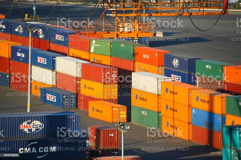 Red Hook Container Terminal cargo stock photo