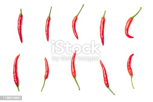 Red hot chili pepper isolated on a white background. Top view