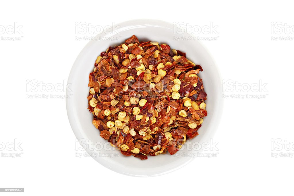 Red Hot Chili Pepper Seeds and Flakes stock photo