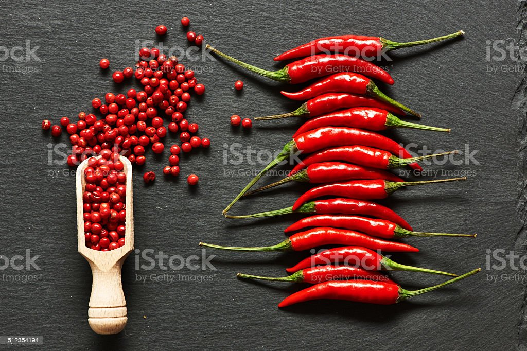 Red hot chili peppers and rose pepper stock photo