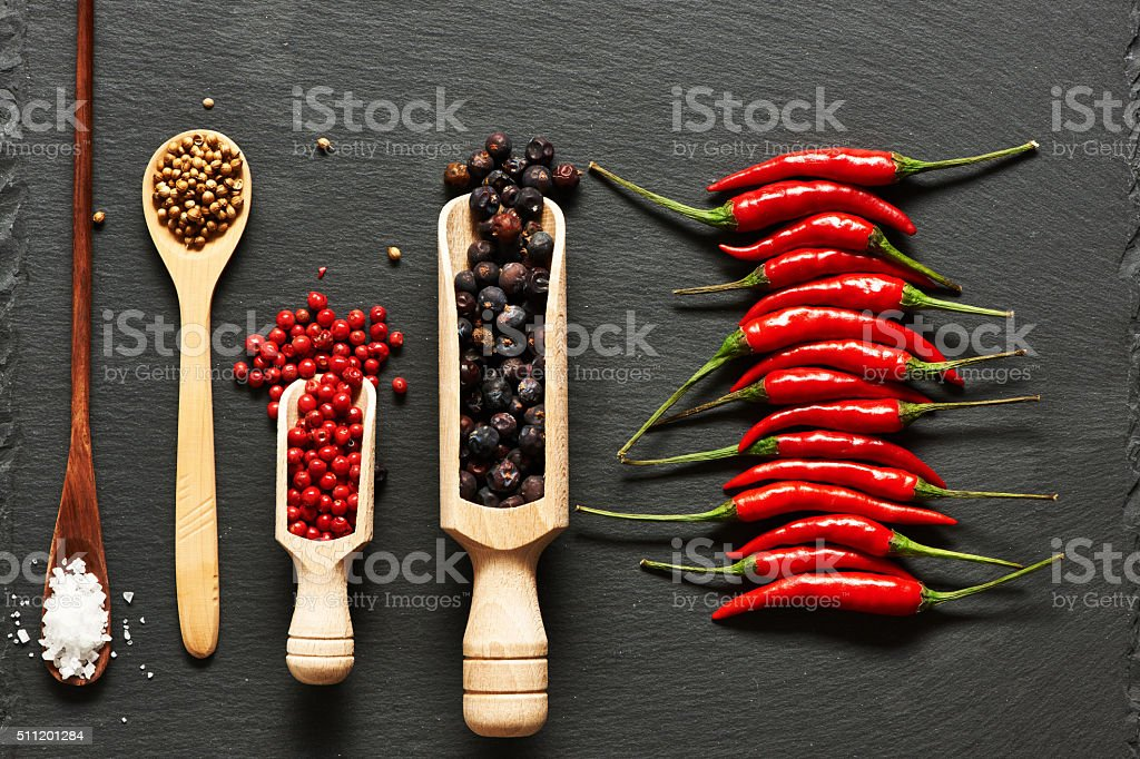 Red hot chili peppers and spices stock photo
