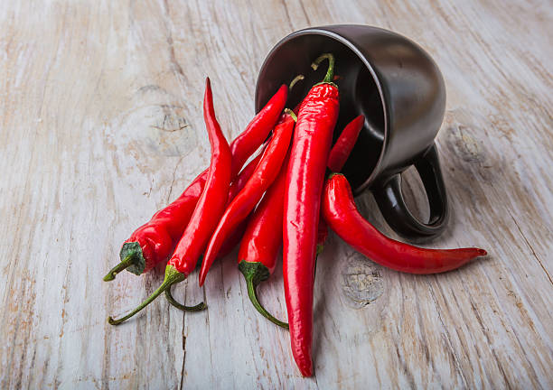 Red Hot Chili Peppers in a black cup stock photo