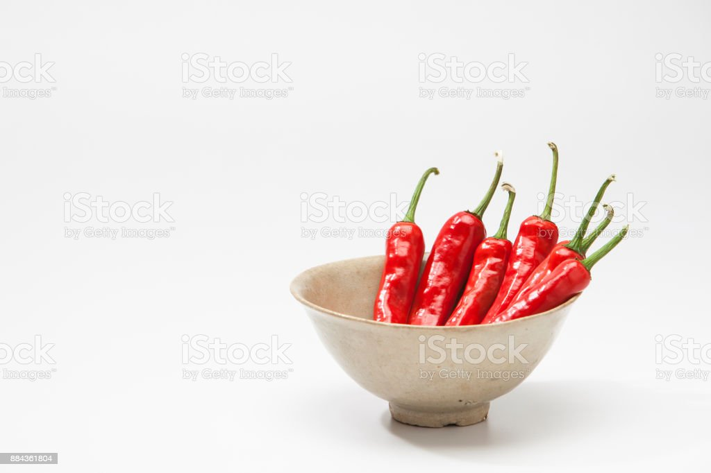 Red Hot Chili peppers on a bowl stock photo