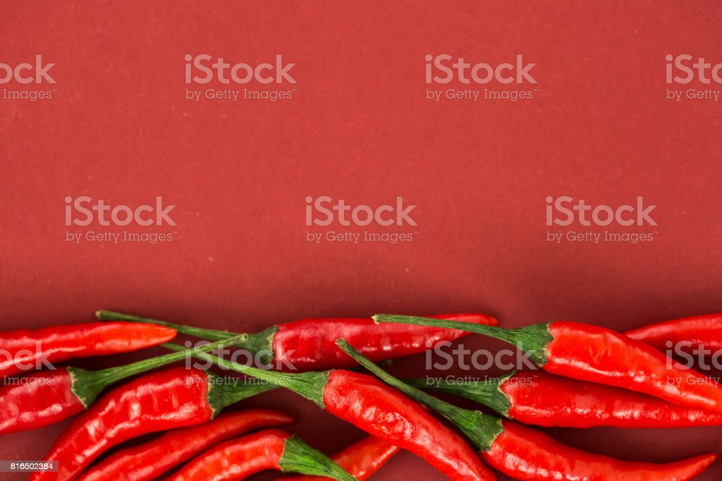 red hot chili peppers, popular spices concept - collage of some beautiful red hot chili pepper pods isolated on red background, top view, flat lay, free space for your text stock photo