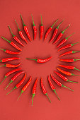 istock red hot chili peppers, popular spices concept - decorative circle is made from red hot chili pepper pods on red background, in the middle is one pod, top view, flat lay, vertical 675243448