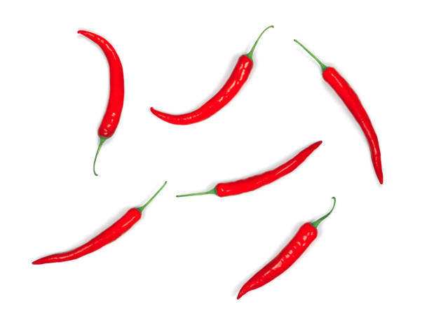 red hot chilli pepper isolated on white background, flat lay, top view stock photo