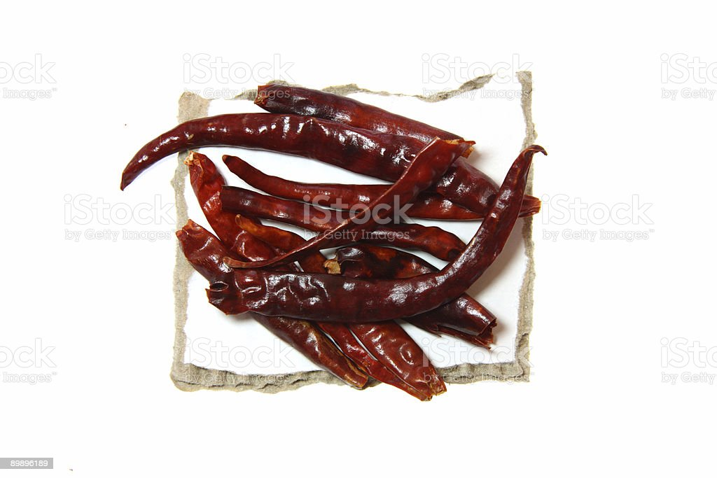 Red Hot Chilli pepper on pieces of paper royalty-free stock photo