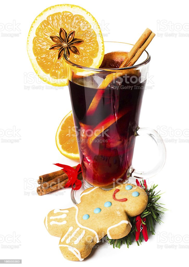 Red Hot Christmas mulled wine with spices,  orange slice, anise royalty-free stock photo