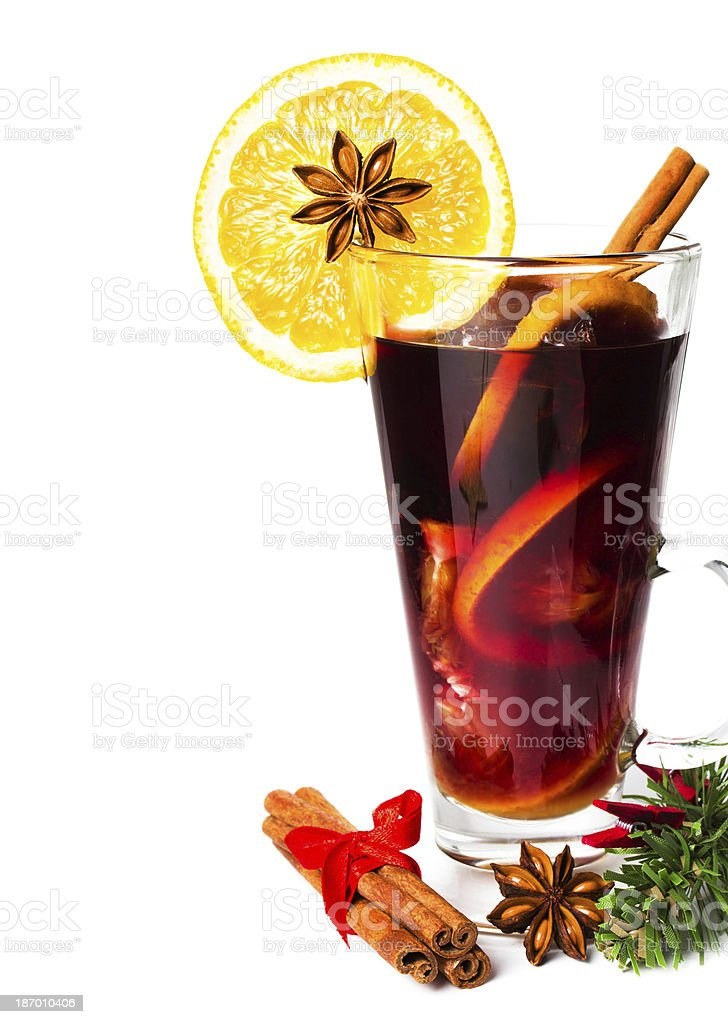 Red Hot Christmas mulled wine with spices, orange slice, royalty-free stock photo