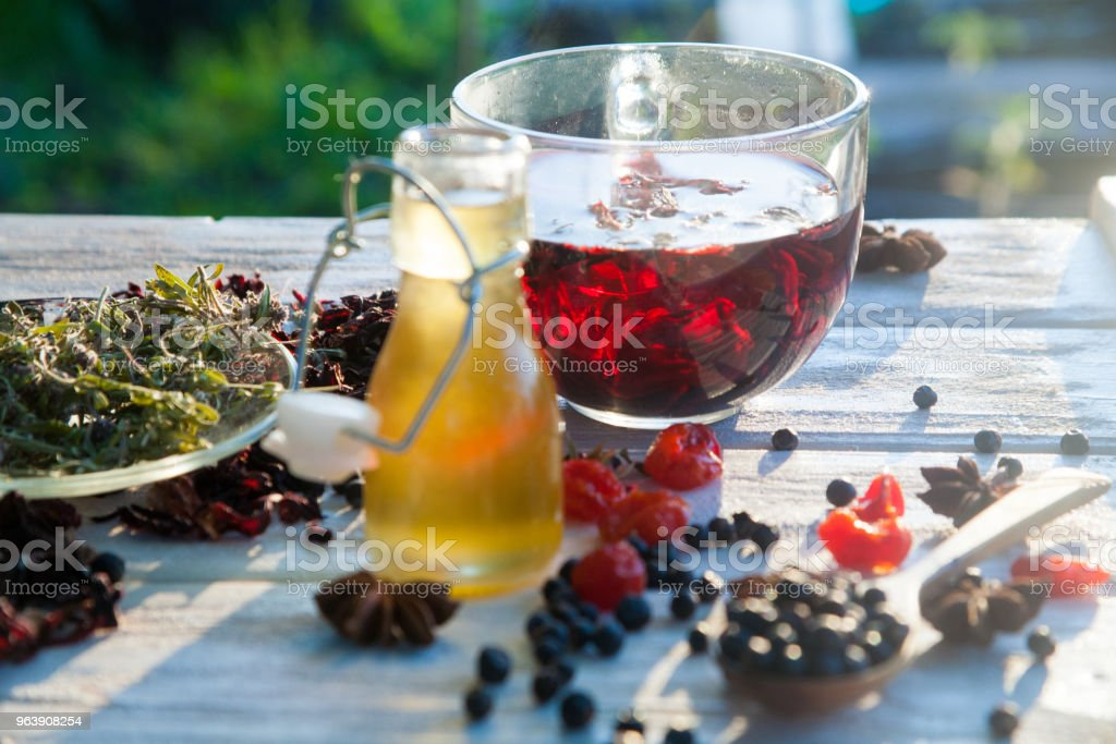 Red Hot Hibiscus tea in a glass mug - Royalty-free Breakfast Stock Photo