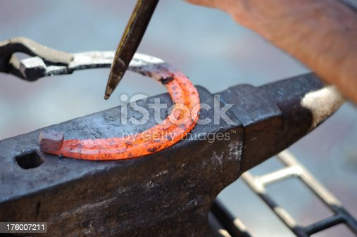 1130936245istockphoto red hot horseshoe on the anvil 176007211