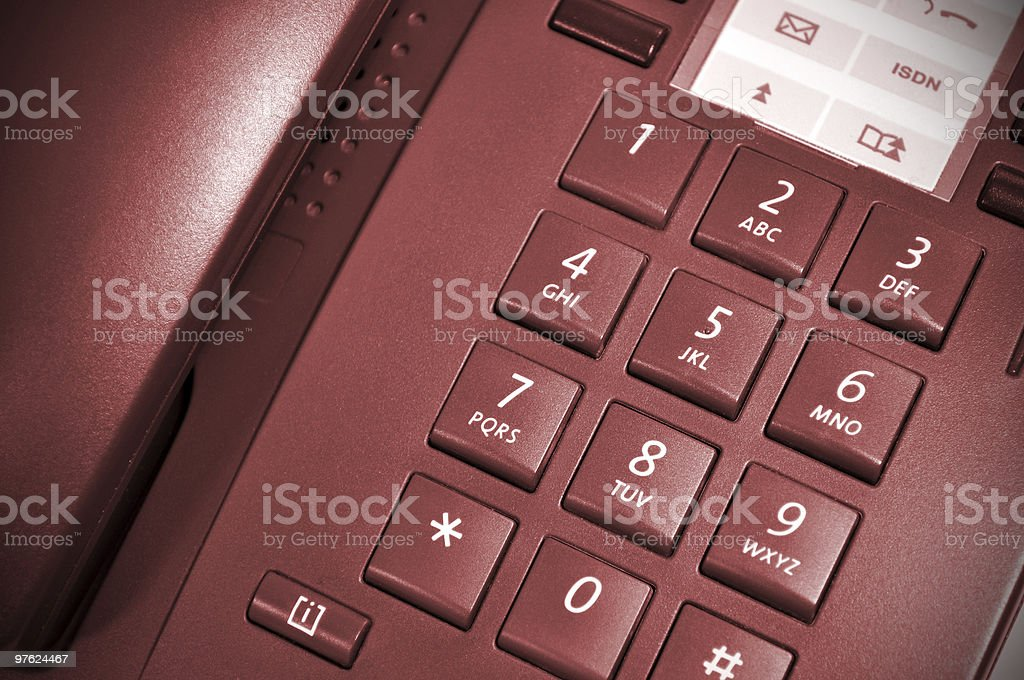 Red hot office desk telephone. royalty-free stock photo