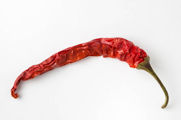 red hot pepper on a white background. isolated. - dried food stock photos and pictures
