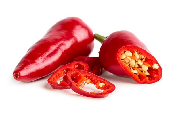 Red hot pepper with slices stock photo
