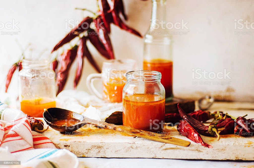 Red hot sweet chilli sauce stock photo