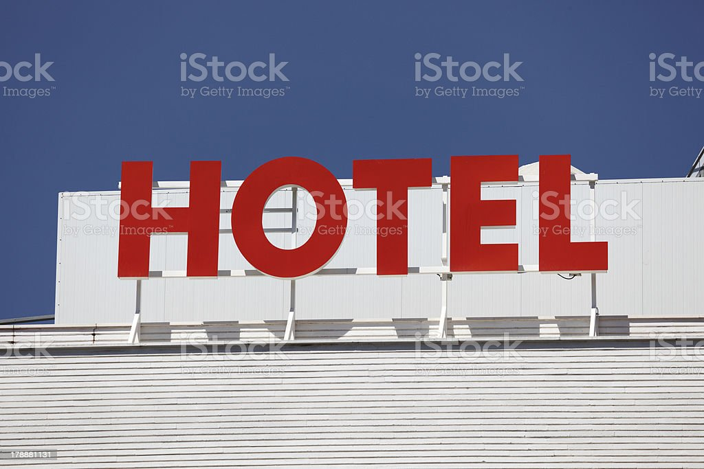 Red hotel sign royalty-free stock photo