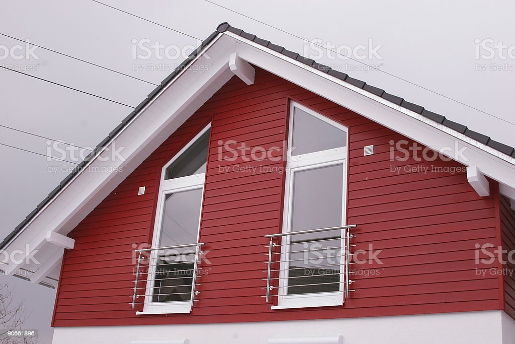 Red house gable stock photo