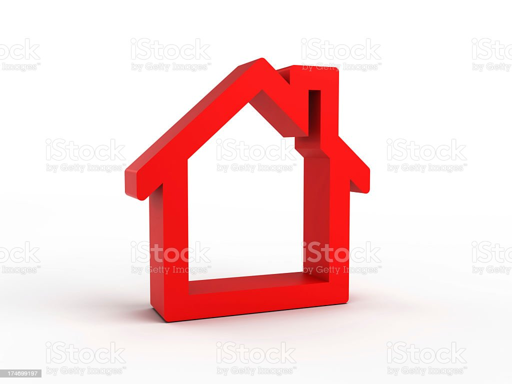 Red house icon against a white background royalty-free stock photo