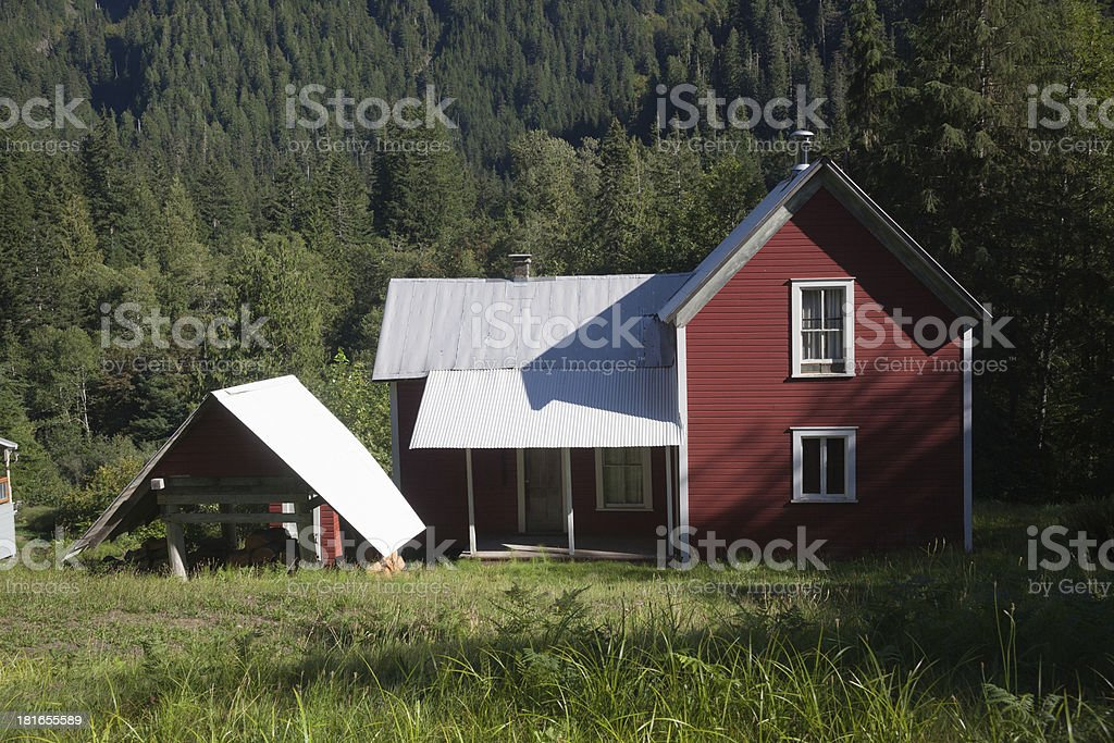 Red House In The Cascade Mountains stock photo