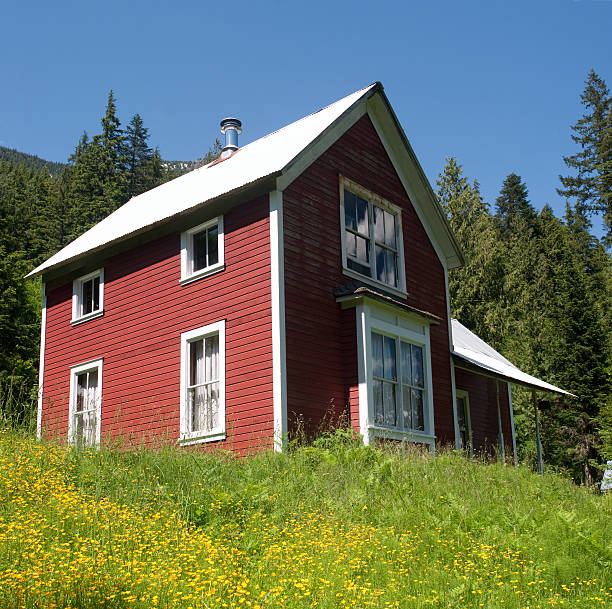 Red House In The Mountains stock photo